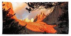 Bath Towel featuring the photograph Mt. Whitney Sunrise by Alan Socolik