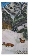 Mule Deer In Winter Hand Towel