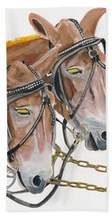 Hand Towel featuring the painting Mules - Two - Beast Of Burden by Jan Dappen