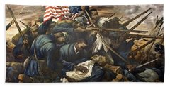 Mural Of The 54th Massachusetts And Colonel Shaw  Bath Towel