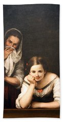 Murillo's Two Women At A Window Hand Towel by Cora Wandel