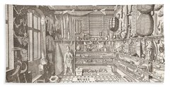 Museum Of Ole Worm, Leiden, 1655 Engraving Hand Towel