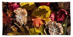 Mushrooms In Fall Leaves Hand Towel