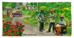 Musicians On Island Of Grenada Bath Towel