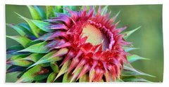 Hand Towel featuring the photograph Musk Thistle by Teresa Zieba