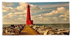 Muskegon South Pier Light Hand Towel