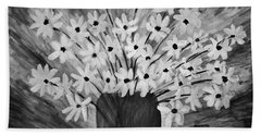 My Daisies Black And White Version Hand Towel