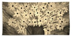 My Daisies Sepia Version Bath Towel by Ramona Matei