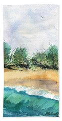 Hand Towel featuring the painting My Secret Beach by Marionette Taboniar