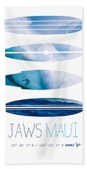 My Surfspots Poster-1-jaws-maui Bath Towel