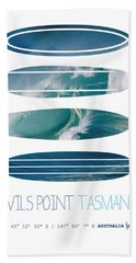 My Surfspots Poster-5-devils-point-tasmania Bath Towel