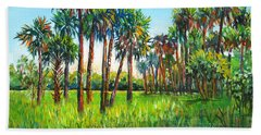 Hand Towel featuring the painting Myakka Palms by Lou Ann Bagnall