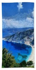 Myrtos Beach In Kefallonia Island Bath Towel
