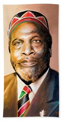 Mzee Jomo Kenyatta Hand Towel by Anthony Mwangi
