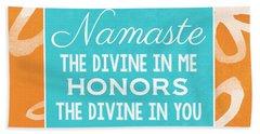 Namaste Watercolor Flowers Bath Towel