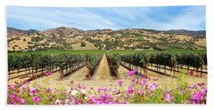 Napa Valley Vineyard With Cosmos Bath Towel