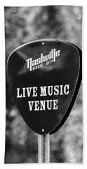 Nashville Music City Sign Bath Towel by Debbie Green