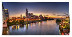 Nashville Skyline Panorama Bath Towel