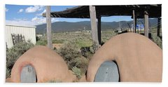 Hand Towel featuring the photograph Native American Adobe Ovens In New Mexico by Dora Sofia Caputo Photographic Art and Design