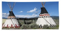 Hand Towel featuring the photograph Native American Teepees by Dora Sofia Caputo Photographic Art and Design