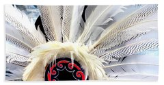 Native American White Feathers Headdress Bath Towel