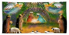 Bath Towel featuring the painting Nativity by Jean Pacheco Ravinski