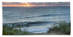 Nauset Light Beach Sunrise Square Hand Towel by Bill Wakeley
