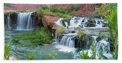 Bath Towel featuring the photograph Navajo Falls by Alan Socolik