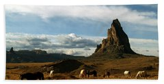 Navajo Horses At El Capitan Bath Towel by Jeff Brunton