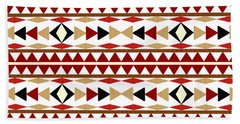 Hand Towel featuring the mixed media Navajo White Pattern by Christina Rollo