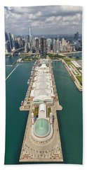 Navy Pier Chicago Aerial Hand Towel by Adam Romanowicz