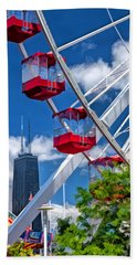 Bath Towel featuring the painting Navy Pier Ferris Wheel by Christopher Arndt