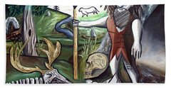 Hand Towel featuring the painting Neander Valley by Ryan Demaree