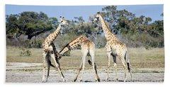 Bath Towel featuring the photograph Necking Giraffes Botswana by Liz Leyden