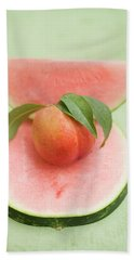 Nectarine With Leaves, Slice And Wedge Of Watermelon Bath Towel