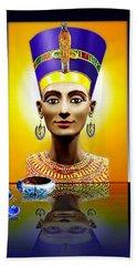 Nefertiti  The  Beautiful Hand Towel by Hartmut Jager