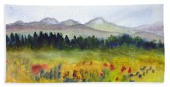 Nek Mountains And Meadows Bath Towel by Donna Walsh