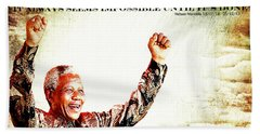 Nelson Mandela Hand Towel by Spikey Mouse Photography