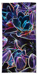 Neon Lilies Hand Towel by Tine Nordbred