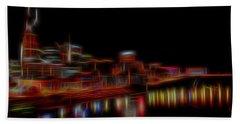 Neon Nashville Skyline At Night Hand Towel