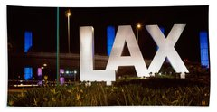 Neon Sign At An Airport, Lax Airport Bath Towel