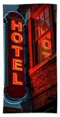 Neon Sign For Hotel In Texas Hand Towel