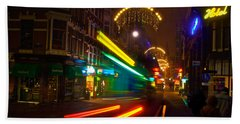 Bath Towel featuring the photograph Neon Tram Leidestraat by Jonah  Anderson
