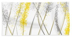 Neutral Sunshine - Yellow And Gray Modern Art Bath Towel