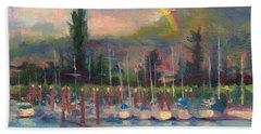 New Covenant - Rainbow Over Marina Bath Towel