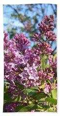 Purple Lilac Bath Towel by Eunice Miller