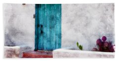New Mexico Turquoise Door And Cactus  Hand Towel by Barbara Chichester
