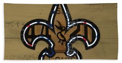 New Orleans Saints Football Team Retro Logo Louisiana License Plate Art Bath Towel