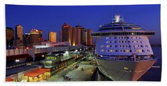 New Orleans Skyline With The Voyager Of The Seas Bath Towel