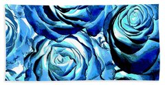 Pop Art Blue Roses Hand Towel